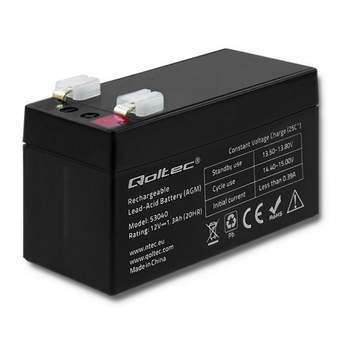 Qoltec AGM battery | 12V | 1.3Ah | max 19.5A
