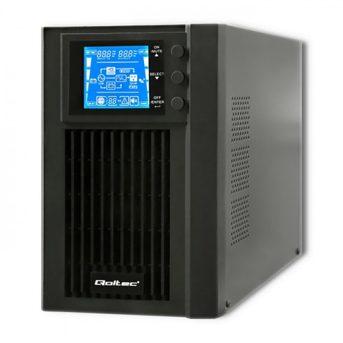 Qoltec Uninterruptible Power Supply | On-line | Pure Sine Wave | 1kVA | 800W | LCD